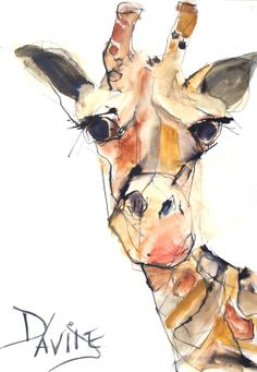 Interesting lines and color blocks Giraffe Drawing, Giraffe Art, Watercolor Animals, Watercolor Paintings, Elephant Watercolor, Animal Paintings, Animal Drawings, Pet Portraits, Painting & Drawing