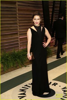 emilia clarke wows with an intricate neckline at vanity fair oscars party 2014 03 Emilia Clarke is gorgeous in a bold black dress while attending the Vanity Fair Oscars Party after the 2014 Oscars on Sunday (March 2) in West Hollywood, Calif.…