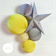 Yellow and gray decoration for children's room Source by virginiedray Star Lanterns, Paper Lanterns, Decoration Gris, Paper Fans, Rice Paper, Kit, Girl Room, Playroom, Yellow