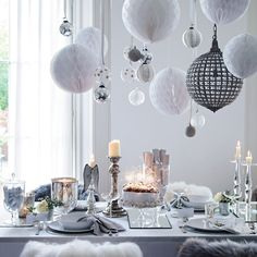awesome 46 Stylish Silver and White Christmas Table Centerpieces Ideas Christmas Table Settings, Christmas Table Decorations, Holiday Tables, Decoration Table, Paper Decorations, Table Centerpieces, Holiday Decor, Honeycomb Decorations, Christmas Tabletop