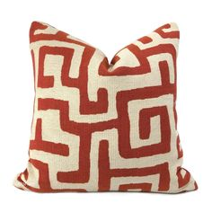 Robert Allen Maze Along Saffron Orange Ivory Ethnic Tribal Geometric Pillow Cover - Fits 14x36 insert (13x35 cover) / LAST ONE / Pattern on 1 side