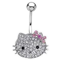 Banana de piercing ombligo con diseño Hello Kitty. Barra ...