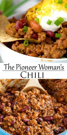 This hearty chili recipe has a perfect blend of seasonings, ground beef, and beans. It's Stove Top, Crock Pot, and Instant Pot friendly and will quickly become your best chili recipe! woman recipe videos The Pioneer Woman Chili The Pioneer Woman, Pioneer Woman Chili, Pioneer Women, Pioneer Woman Recipes, Best Chili Recipe, Chili Recipes, Easy Beef Chili Recipe, Crock Pot Chili, Recipe Recipe