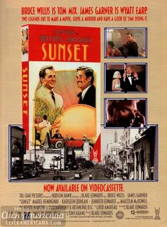 Bruce Willis & James Garner in Sunset (1988)  Read more at http://clickamericana.com/media/advertisements/bruce-willis-james-garner-in-sunset-1988 | Click Americana