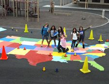 Painted Playground Games Usa Playground Games Hopscotch - Giant us map stencil
