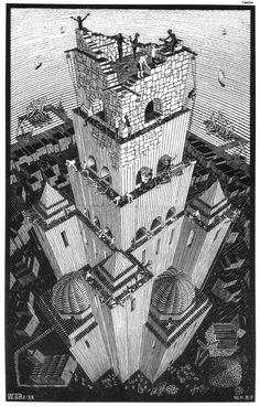 Tower of Babel - M.C. Escher  Think this differs from 'Ascending, Descending' in that it refers to the Penrose staircase without suggesting one.