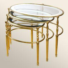1950's Italian Nest of Oval Brass Tables