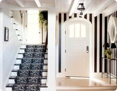 love the arched door and crisp navy and white
