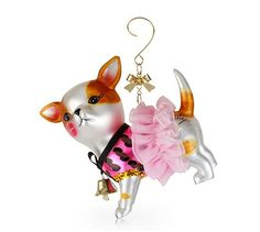 DOGGONE CUTE!  This stylish chihuahua ornament from Besty Johnson  is dressed in a pink leopard dress and tutu that raises the bar on cuteness.  Ornament is packaged in a signature Betsey Johnson Gift Box.  Available at Macy's Ornament shop or online