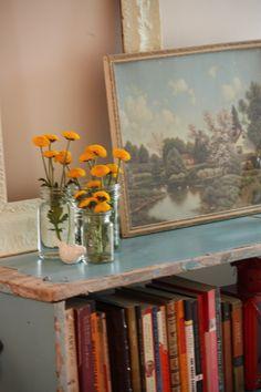 Diy headboard idea: old bookcase behind bed
