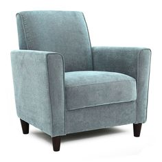 The Enzo Arm Chair III is a Contemporary style product. Contemporary style bridges the gap between traditional and modern. Pieces simple and clean lines. My Living Room, Living Room Chairs, Blue Accent Chairs, White Chairs, Layout, Sit Back And Relax, Bath, Cheap Furniture, Furniture Decor