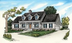 I love this house plan! 4 Bedroom, 3.5 Baths  Split Bedroom Plan  Raised Ceiling in Den/Master  Breakfast Bar  Gourmet Kitchen  Large Master Suite w/His & Her Closets  Walk-In Closets  Spacious Utility/Storage Rooms  Covered Front Entrance/Rear Porch  Sophisticated Traditional Country Styling    Total Living: 2680 sq.ft.  Total Area: 3677sq.ft. Southern Homes, Southern House Plans, Country House Plans, New House Plans, Dream House Plans, House Floor Plans, Southern Style, Southern Charm, Country Style