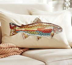 Trout Pillow. Fish. Country Décor. Rustic. Nature.