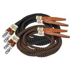 SHOWMAN 22/' Marron Nylon mecate reins avec cuir Popper /& Slobber straps new Tack