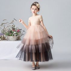Kids Pageant Dresses, Girls Dresses Sewing, Dresses Kids Girl, Wedding Flower Girl Dresses, Wedding Party Dresses, Style Chinois, Dress For Girl Child, Tulle Dress, Elegant Dresses