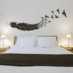 Uccelli In Volo Dalla Piuma | Stickers Murali Adesivi Murali