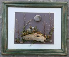 "Pebble Art Couple sitting on a beautiful natural log in the outdoors under the sun/moon set in an 8x10 ""open"" wood reclaimed frame by CrawfordBunch on Etsy"