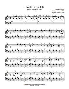 How to Save a Life by The Fray Piano Sheet Music | Advanced Level