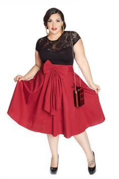 Domino Dollhouse - Plus Size Clothing: Bow Baby Skirt in Red skirt design by Amber Middaugh Retro Outfits, Vintage Style Outfits, Cute Outfits, Vintage Fashion, Plus Size Rockabilly, Baby Skirt, Girl Fashion, Fashion Outfits, Plus Size Vintage