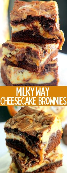 Milky Way Cheesecake Brownies are stuffed with delicious creamy cheesecake and dripping with ooey gooey caramel! These will be a hit at your next party! Caramel Cheesecake, Cheesecake Brownies, Cheesecake Desserts, Köstliche Desserts, Chocolate Desserts, Easy No Bake Desserts, Delicious Desserts, Best Dessert Recipes, Yummy Food