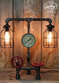 "Steampunk Industrial Lamp with 5"" Pressure Gauge - The Lighting Works"