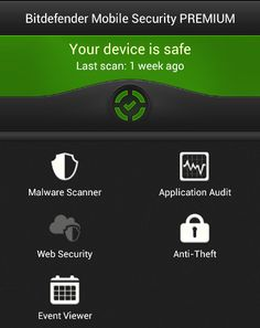 Bitdefender Mobile Security and Antivirus 1.2.3 (for Android)  Bitdefended Bitdefender's homescreen fits a lot into a single screen. The most important part is the warning indicator, which will change the second it detects a suspicious app on your device.