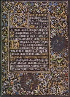 an illuminated manuscript from a book where the vellum has been dyed or painted black.