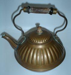 Old tea pots | Vintage Antique Embossed Copper ? Teapot Pot Tea Kettle Wooden Handle ...
