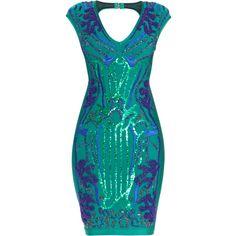 Herve Leger Jacinda Degrade Beading Dress ($3,160) ❤ liked on Polyvore featuring dresses, beaded dress, stitching dresses, blue mesh dress, mesh dress and mesh bandage dress