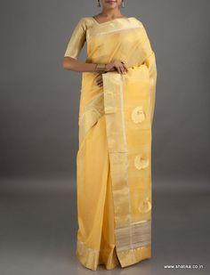 Akshara Golden Peacocks Mercerized #ChanderiSilkCottonSaree