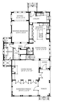 First Floor Plan of Historic Southern House Plan 73715 2963 sqft