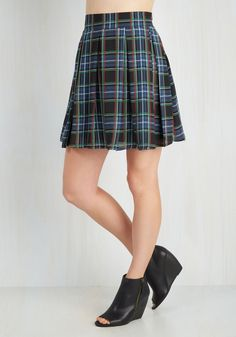 Park Movie Marathon Skirt in Blue Plaid. Atop a blanket on the grass, you sit back and relax in your flared, plaid skirt, waiting for the feature presentation. #blue #modcloth