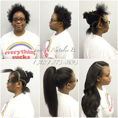 """Finally, a TRUE versatile sew-in, that looks like her REAL hair!!!! ......""""When choosing the BEST matters, the elite choose me."""" ~ Natalie B., Master Hair Weave Stylist (312) 273-8693 ....HAIR USED: Malaysian Relaxed Natural (www.naturalgirlhair.com)  FOLLOW ME IG: @iamhairbynatalieb FB: Hair by Natalie B."""