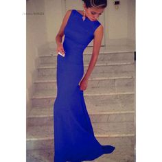 Blue, black 2016 New arrival european style fashion women ladies sleeveless round neck long fishtail dress elegant party dress