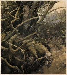 """artofnarrative:  """""""" Alan Lee ~ from The Lady of the Fountain ~ The Mabinogion ~ Medieval Welsh Tales translated by Gwyn Jones and Thomas Jones ~ Dragon's Dream ~ 1982  """" """""""