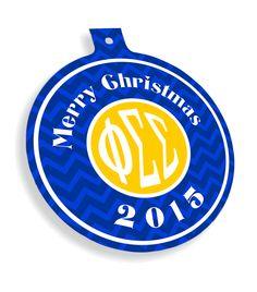 Phi Sigma Sigma Chevron Christmas Ornaments  from GreekGear.com