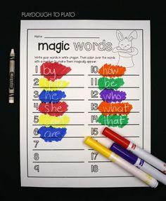 Word work activities. Sight words.