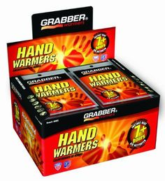 """Grabber Warmers Grabber 7+ Hours Hand Warmers, 40-Count by GRABBER WARMERS. Save 55 Off!. $19.86. Air-Activated Instant Heat Hand Warmers (2"""" x 3"""") lasting 7 plus hours. 40 Pair per display box. Grabber Hand Warmers are a non-toxic, odorless heat source using all natural ingredients that are non-combustible."""