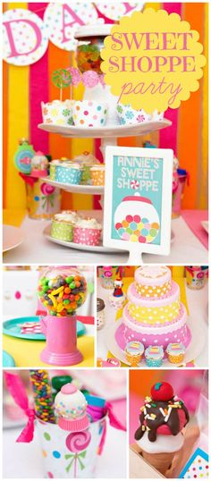 This colorful sweet shoppe birthday party is fantastic! Perfect for candy lovers! See more party planning ideas at CatchMyParty! 6th Birthday Parties, Birthday Favors, Girl Birthday, Birthday Ideas, Candyland, Ice Cream Party, Candy Party, Childrens Party, Party Planning