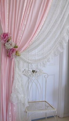 Hideous Pink Shade but love the concept of the two curtains together.