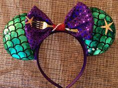 Little mermaid inspired Minnie Ears Ariel Mickey Ears Diy Disney Ears, Disney Mickey Ears, Disney Diy, Disney Crafts, Mickey Mouse Ears Headband, Disneyland Ears, Mermaid Disney, Ariel Disney, Mermaid Mermaid
