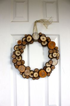 Wood Slice Wreath Made to Order Woodland Rustic by SoftIndustry