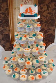 Teal and Orange Wedding Cupcake Tower