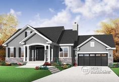 26 new Ideas for house plans with basement bungalows design Bungalow Haus Design, Bungalow House Plans, Craftsman Style House Plans, House Design, Bungalow Designs, House Plans One Story, New House Plans, Small House Plans, House Floor Plans