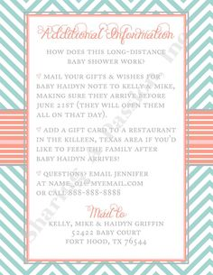 long distance baby shower invitation- i wrote this cute little, Baby shower invitations