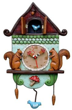 the combination of 2 things I love:  Cuckoo clocks & Squirrels