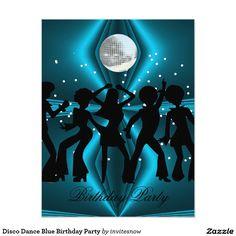 Shop Disco Dance Blue Birthday Party Invitation created by invitesnow. Dance Party Birthday, Blue Birthday Parties, Blue Party, 40th Birthday, Disco Party, Bachelorette Party Invitations, Birthday Party Invitations, Wedding Invitations, Holiday Images