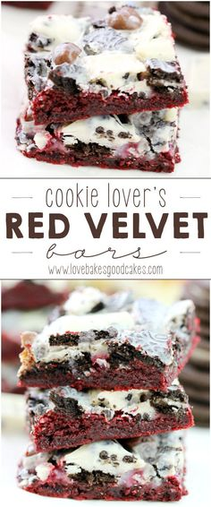 Gotta sweet tooth?! These Cookie Lover's Red Velvet Bars are loaded up with cookie dough bites, Oreo cookies and cookies and cream candy bars! They're easy to make, too!