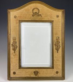 """Antique French Second Empire Large Frame, Dore Bronze, Silk, Applique Torches 9 3/8"""" x 7"""" Second Empire, Bronze, Large Frames, Antique Frames, Beveled Glass, French Antiques, Family Photos, Applique, Old Things"""