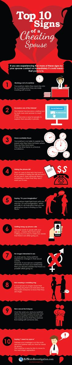 Top 10 Signs of A Cheating Spouse #infographic #Cheating #Relationship